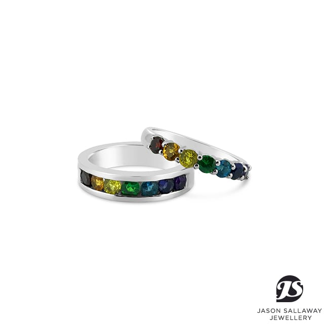 Rainbow Coloured Gems - Wedding Bands