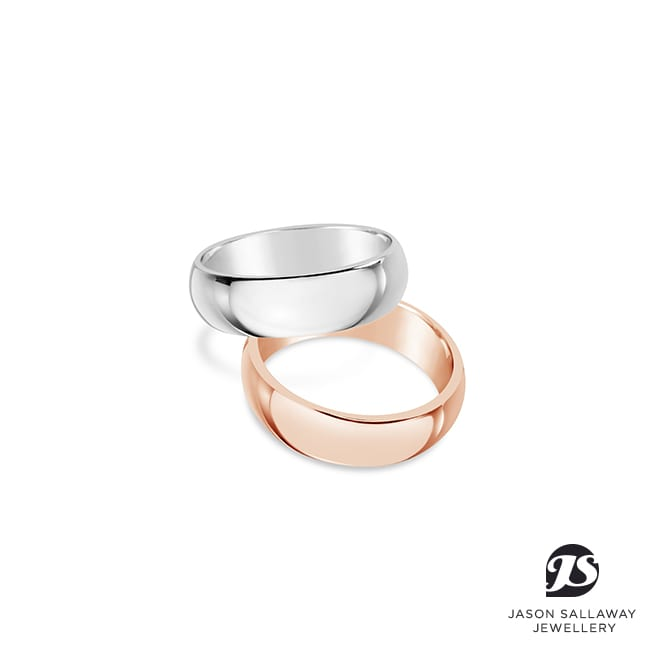 Titanium and Rose Gold Wedding Band Set