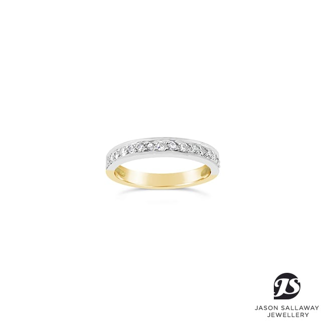 2 Tone Diamond Set Wedding Band | JSJ-00050